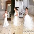 Elegante blanco / marfil correas espaguetis sirena del cordón niña vestido de flores hermosa formal del banquete de boda de cumpleaños primera comunión vestido