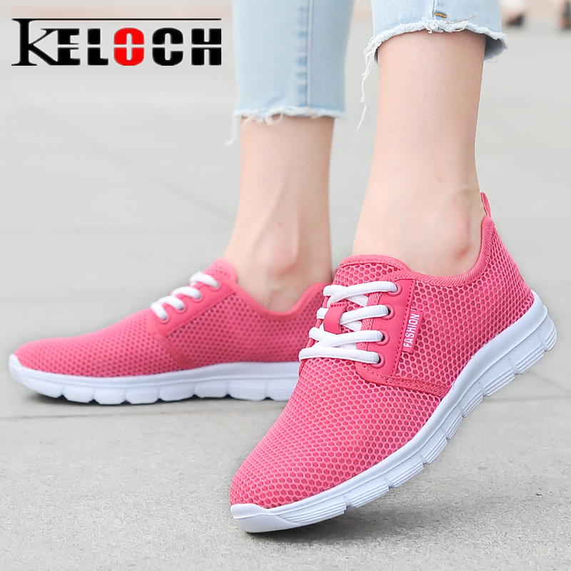 Keloch New Summer Mesh Shoes Woman Breathable Ladies Casual Shoes Lightweight Lace Up Flats Women Walking Sneakers Female цена