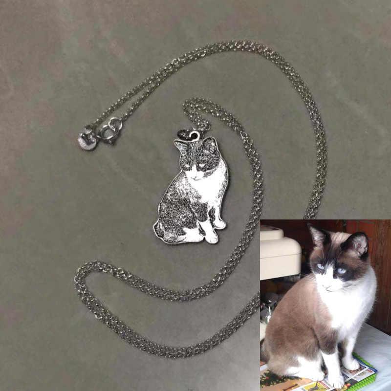 Amxiu Personalizado Foto de animais de Estimação Cão Da Corrente Chave Imagem Do Gato Pingente de Prata Esterlina 925 Nomes Gravados Chaveiros Chaveiro Para Homens Jóias