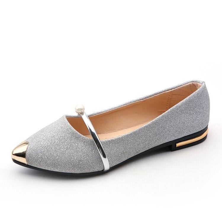 on Chaussures Mocassins or Pointu Femmes Métal Solide De Appartements Slip D'été Bout Décoration Noir argent Pour Flock Mode Loisirs Classiques Décontracté 7wnaqxHxX