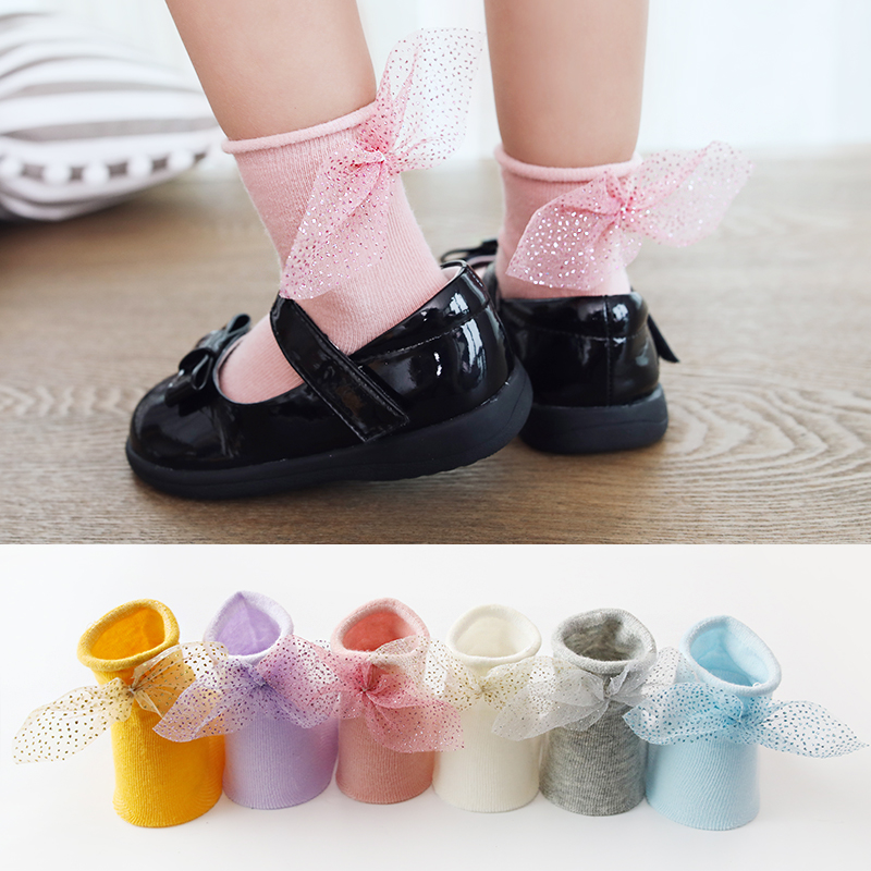 Solid Colour Kids Girls Summer Cotton Dress Socks 1-3 years old SET of 5