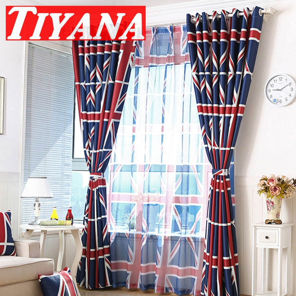Cheap red curtains - Printed England Flag Pattern Blackout Curtain For Kids Room Healthy Baby Boy Room Curtain Drapery Blue