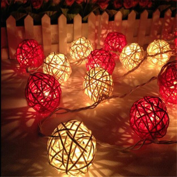 1.5M Red White Rattan Ball 10LED String Light Warm White Fairy Light Battery Powered Garden Fairy Lights Christmas Decoration 10led 4m solar powered chinese hanging lantern string light outdoor garden yard decoration light lamp rgb warm white