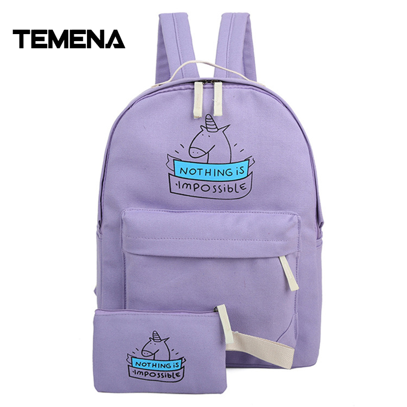 цена на Temena New Fashion 7 COLORS Women Canvas Backpack Cute Unicorn Cartoon Printing Bags Schoolbags For Teenage And Girls ABP335