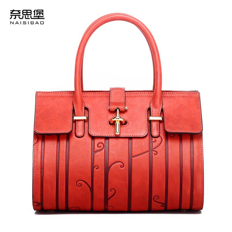 NASIBAO 2020 New top Leather Embossed fashion luxury handbags women bags designer Genuine Leather bag women Handbags