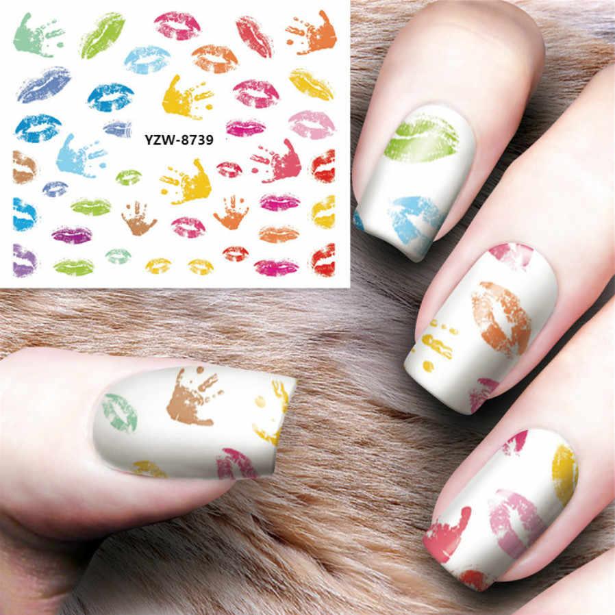 1PcsสีFeather Nail Artออกแบบเล็บSoak OffเคลือบเจลUVเจลเล็บเคลือบเงาYZW8730-39