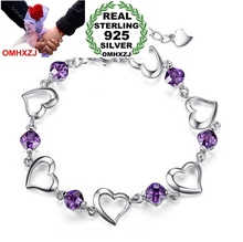 OMHXZJ Wholesale Fashion Present High Quality Amethyst 925 Sterling Silver purple Cherish love Gift Women Bracelets Bangles SZ34