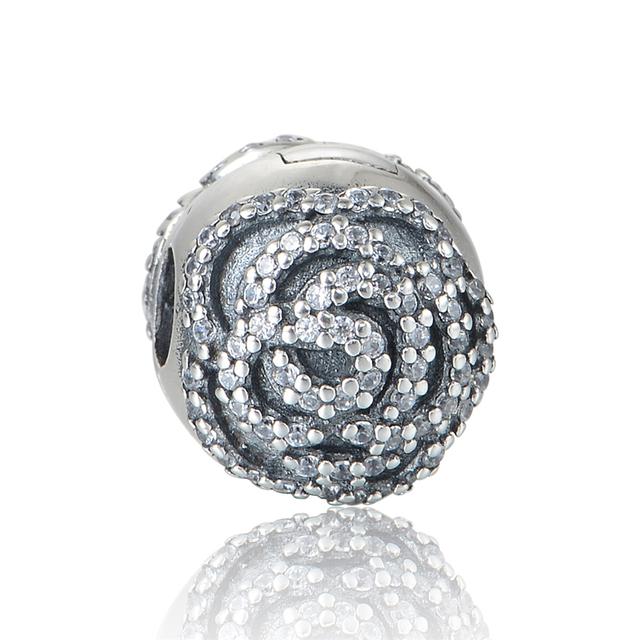 Dia das mães Subiu Clipe de Prata Encantos Para DIY Fazer Jóias Mulheres Moda 925 Sterling Silver Jewelry Fit Pan Charme pulseiras