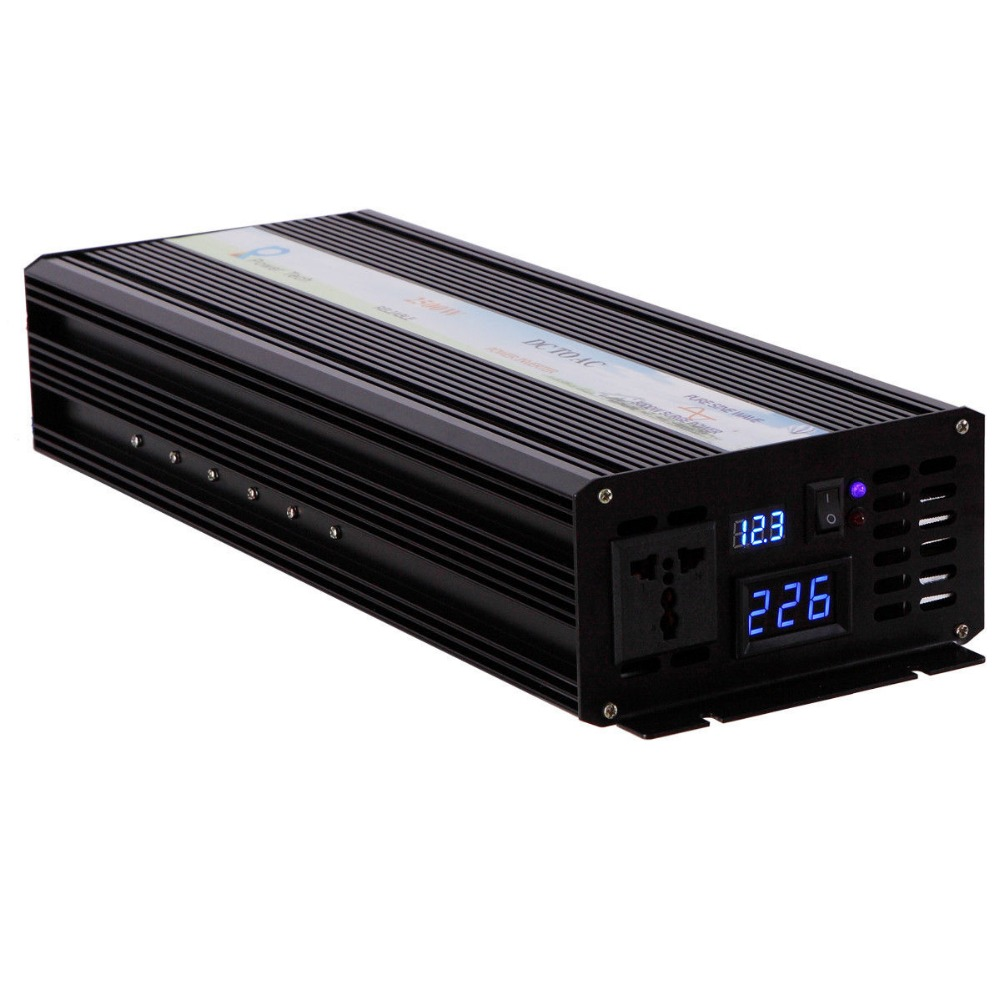 Off Grid Pure Sine Wave Solar Inverter 2500W 12V DC to 220V AC Car Power Inverter Converter 12/24V to 120V/220V/240V LED Display