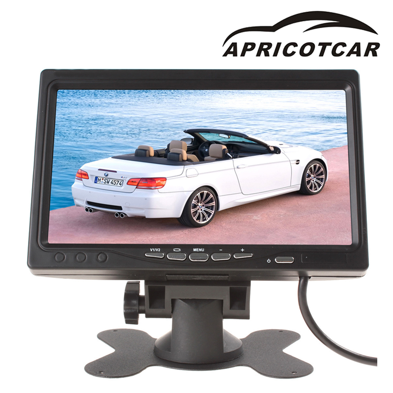 Auto parts Car Monitor 7 inch rear view display bus harvester 12-36V HD screen two input tachograph car video players