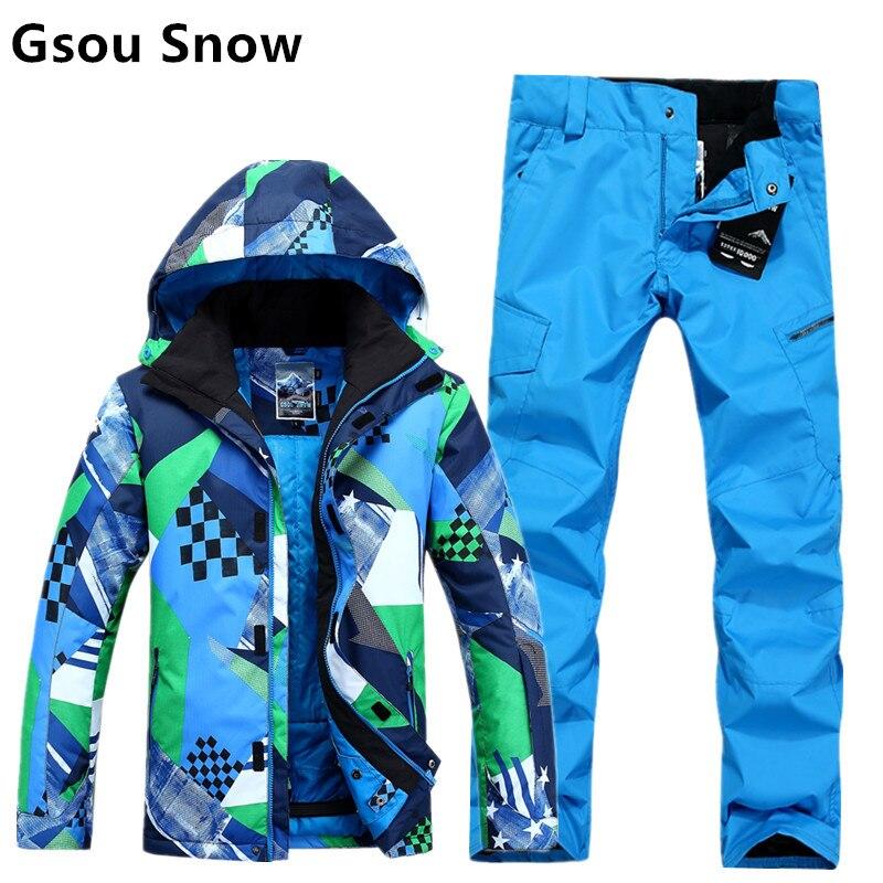 2017 Gsou neige hommes ski costume mâle ski set snowboard montagne escalade costume hommes bleu ski veste et pantalon imperméable 10 K