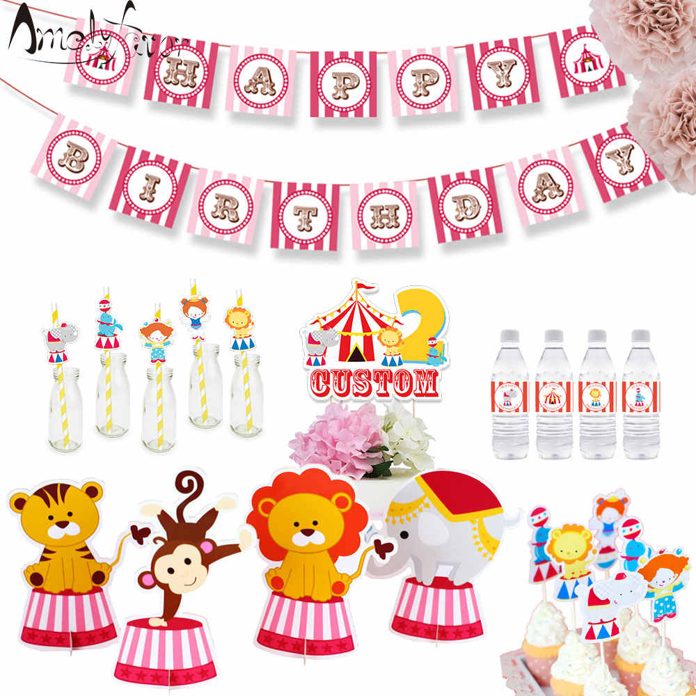 Circus Animal Theme Party Supplies Box Invitation Ceiling Hanging Straws Bags Cake Topper Bottle Wrapper Banner Party Decoration