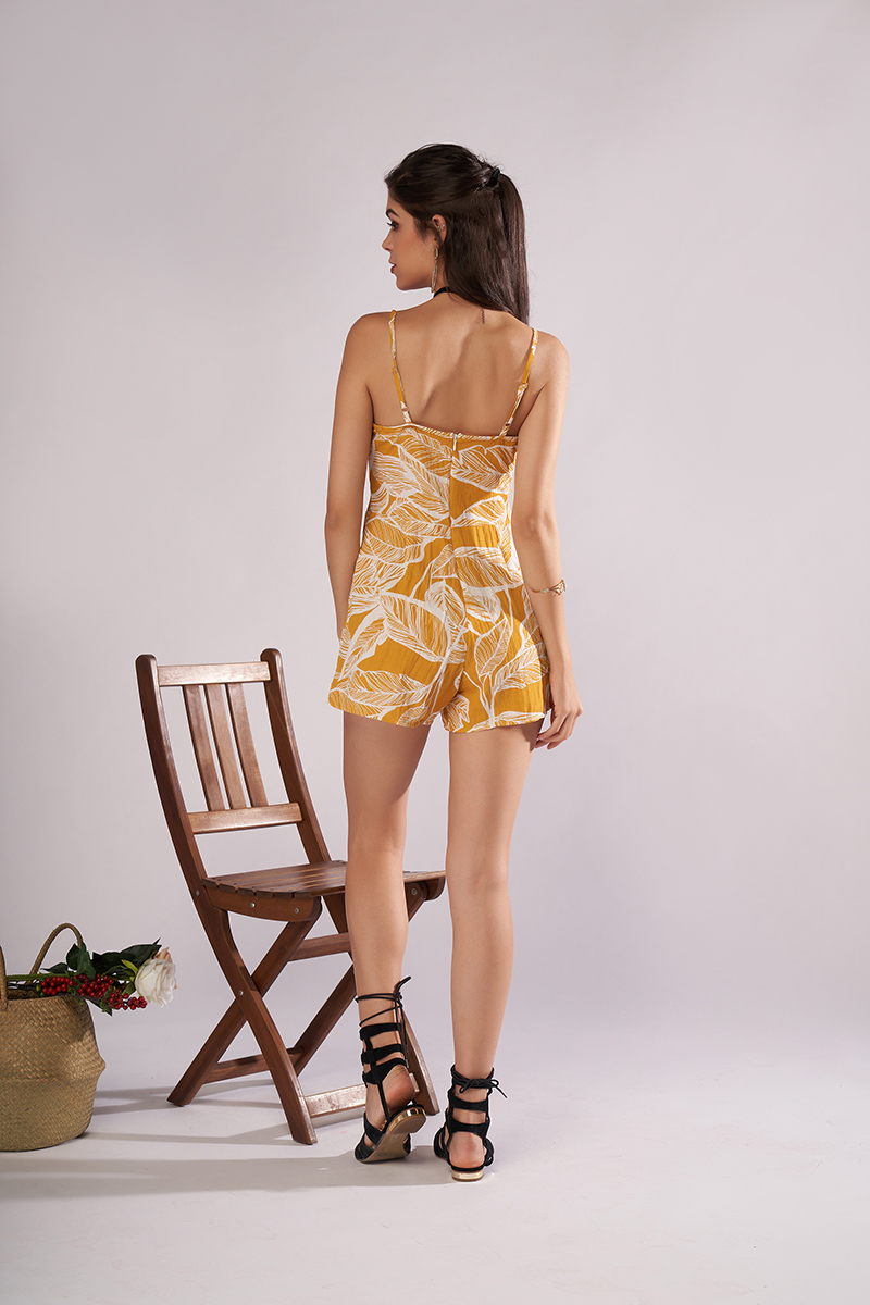 2fc4184efc30 Yellow Floral Print Boho Strap Jumpsuit Romper Women Sexy Backless Bow Tie  Playsuit Female Summer Beach 2018 Shorts Overalls