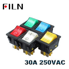 Heavy Duty 30A 250VAC KCD4 Rocker Switch  on off dpst LED switch 4 pin 4 feet red green blue white yellow switch