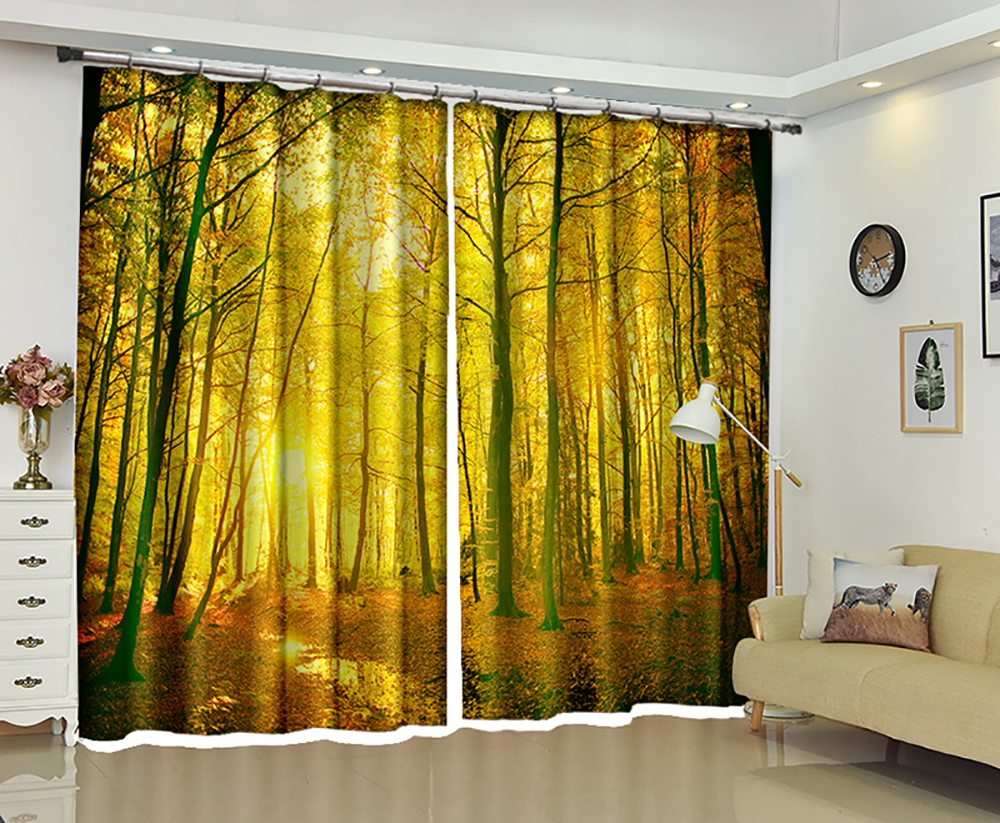 Quiet Forest Creative 3D Sunshade Curtains