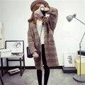2016 Новое Прибытие Осень Overwear свободные длинный отрезок вязать свитер джемпер длинный отрезок womensweater пальто Леди Топы D910