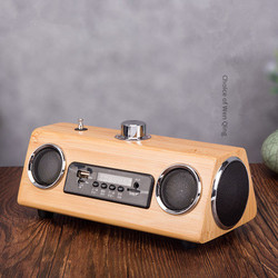 Wooden Bluetooth Speaker Wireless Smart Speaker Rechargeable Connection USB Player