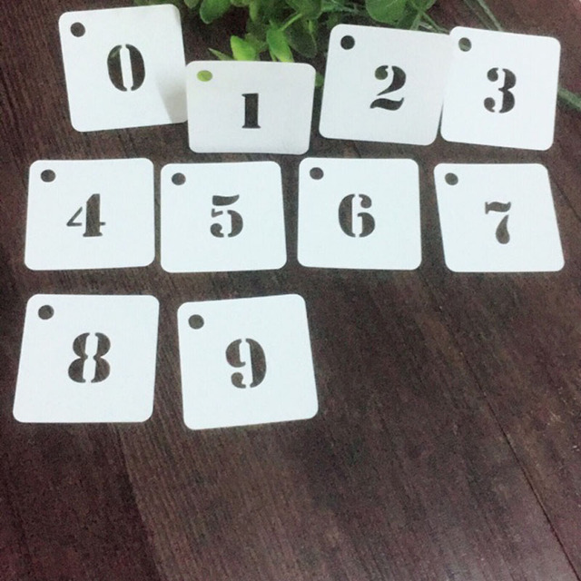 10pcs Numbers Sbooking Tool Card Diy Al Masking Spray Painted Template Drawing Stencils Laser Cut Kw7062211