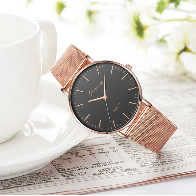 Modern Fashion Black Quartz Watch Men Women Mesh Stainless Steel Watchband High Quality Casual Wristwatch Gift for Female 4