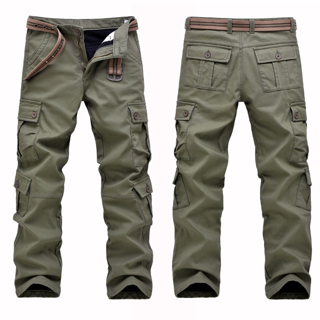 New 2016 autumn winter Mens thick Stretch cotton army green cargo pants with fur inside Super warm pants for male m79