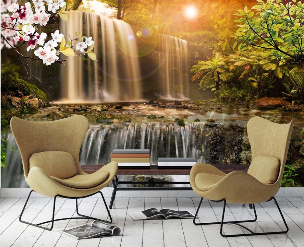 Farmhouse Style Beautiful Waterfall 3d Wall Murals TV Background Papel De Parede Landscape Photo Wallpaper Living room Bedroom beautiful net color decorative pattern design of modern household wall paint murals background wallpaper with high quality papel