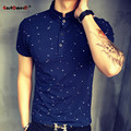 2016 New Summer Guitar Printed Stand Collar Polo Shirt Men Short Sleeve Casual Men Shirts Slim Fit Polo Homme