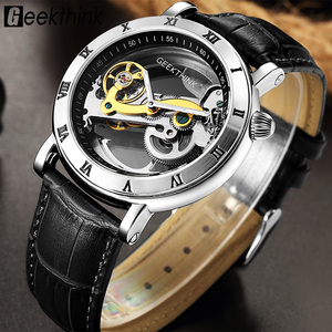 Image 1 - GEEKTHINK Fashion Top brand Skeleton Tourbillon automatic Watch Men Mechanical Skeleton Genuine Leather strap men self wind male