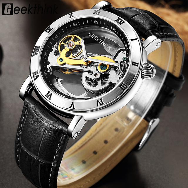 GEEKTHINK Fashion Top brand Skeleton Tourbillon automatic Watch Men Mechanical Skeleton Genuine Leather strap men self wind male