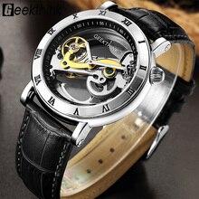 GEEKTHINK Thời Trang thương hiệu Hàng Đầu Skeleton Tourbillon automatic Watch Men Đồng Hồ Cơ Skeleton Genuine Leather strap men tự gió nam