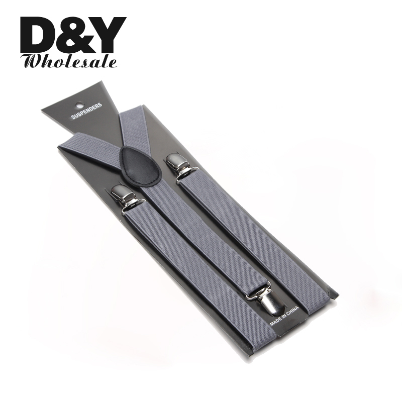 Women Men'S Shirt Suspenders For Trousers Pants Holder 2.5cm Wide Gray Clip-on Braces Elastic Slim Y- Back Wholesale Gallus GIft