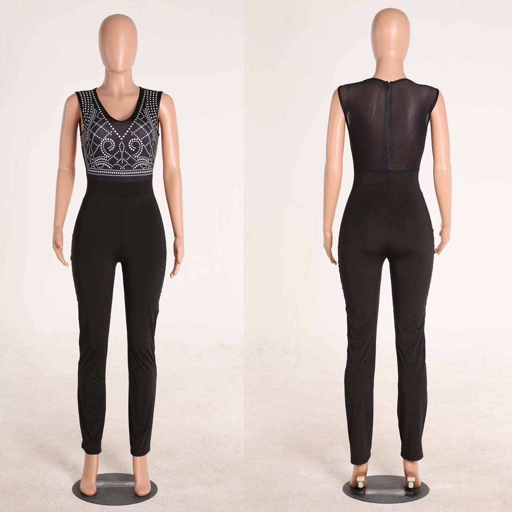 2017 New Summer Women Jumpsuit Bandage Black Bodysuit V-Neck Sleeveless Print Zipper Back Sexy Bodycon Jumpsuits And Rompers 24