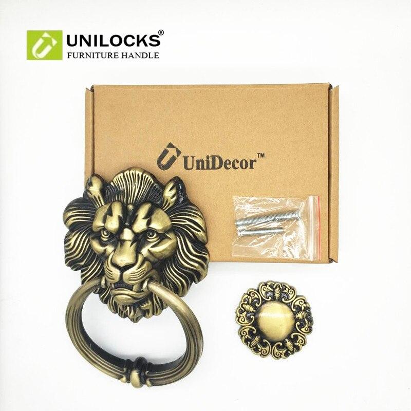 Купить с кэшбэком UNILOCKS 20cm Large Antique Lion Door Knocker Lionhead Doorknockers Lions Home Decor