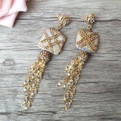 1 par de pendientes colgantes de borla de aleación hechos a mano, cadenas de perlas con pavé de diamantes de imitación joyería para las mujeres pendientes ER337