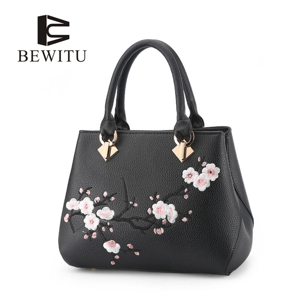 BEWITU Woman Embroidered Bag Black Pu Leather Handbags Plum Blossom Pattern Shoulder Bags for Women ethnic embroidered black cami dress for women