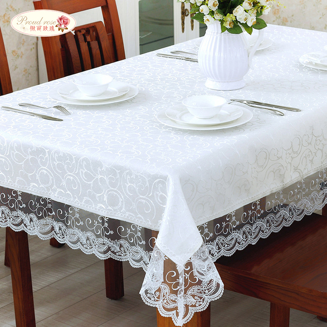 Merveilleux Proud Rose White Lace Table Cloth Embroidered Tablecloths Lace Table Runner  Household Tea Table Cloth Table