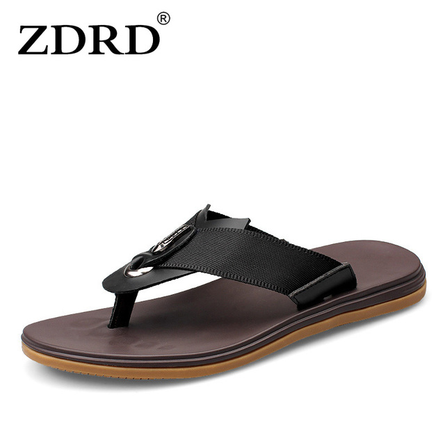 ZDRD 2018 Summer fashion design men sandals beach shoes casual leather  trigger comfortable beach slippers handmade