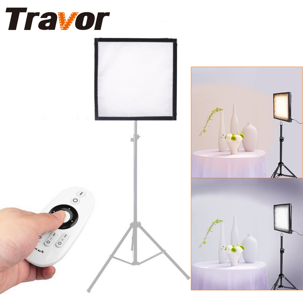 Travor Flexible Bi-Color led video light FL-3030A size 30*30CM CRI 95 3200K 5500K with 2.4G remote control for video shooting travor tl 600a 2 4g kit bi color led video light 3200k 5500k for photography shooting three light 6pcs battery 3 light standing