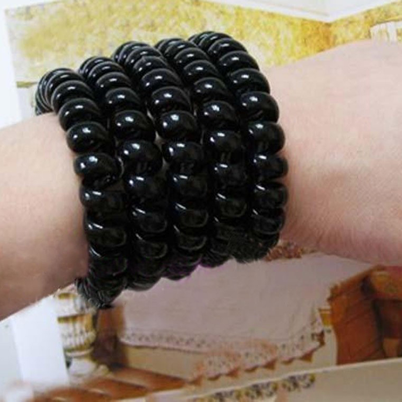 10pcsTelephone Black Ring Cord Elastic Ponytail Holders Hair Accessories Silicone Rubber Gum For Hair Styling Hairdressing Tools