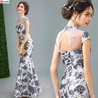 Special Offer~Chinese Style Stand Collar Inky Shading Roses Mermaid Mother of the Bride Dress/Elegant Evening Dress 269
