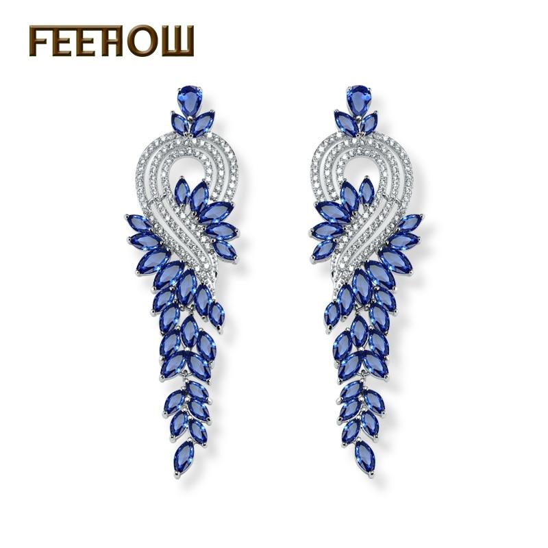 FEEHOW Gorgeous Design Sliver Color Marquise Shape AAA+ Zircon Cluster Women Long Earrings Bridal Drop Earrings FWEP344