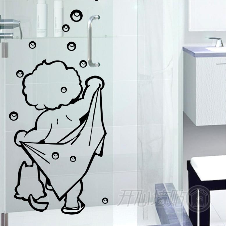 amo doccia wall stickers cute cartoon bagno wc porta in vetro adesivi per piastrelle bambini baby