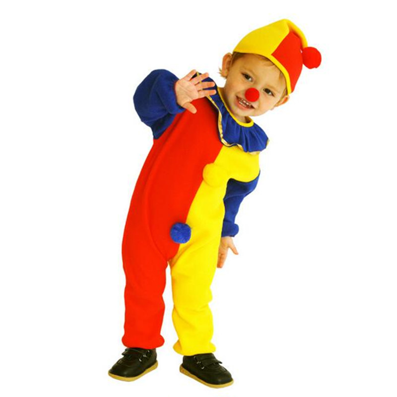 Children Baby Clown Cosplay Costume Jumpsuits & Rompers+Hat+Nose Children's Day Brithday Halloween Holiday Super Cheap Costumes