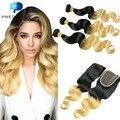 27# Blonde Brazilian Virgin Hair with Closure Predazzle 8A Body Wave Ombre Human Hair 4 Bundles Tissage Bresilienne Avec Closure