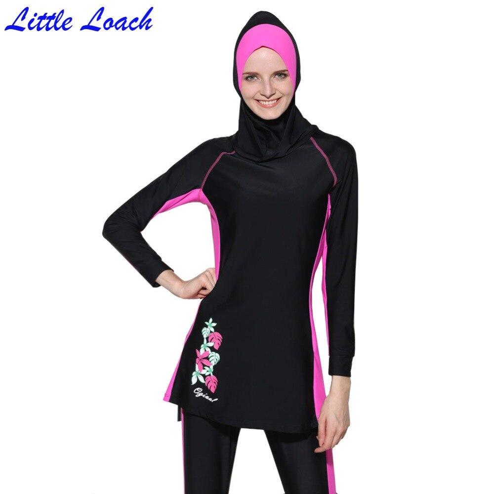 2017 Modest Musulmano Costume Da Bagno Costumi Da Bagno Donna Stampato  Floreale Estate Hajib Costume Da Bagno Islamico Anti Uv della ragazza  Beachwear ... 5b814cb52355