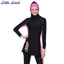 2017 Modest Muslim Swimsuit Women Swimwear Printed Floral Summer Hajib Islamic Swimsuit Anti-UV Girl's Beachwear Burkinis 3 Pcs