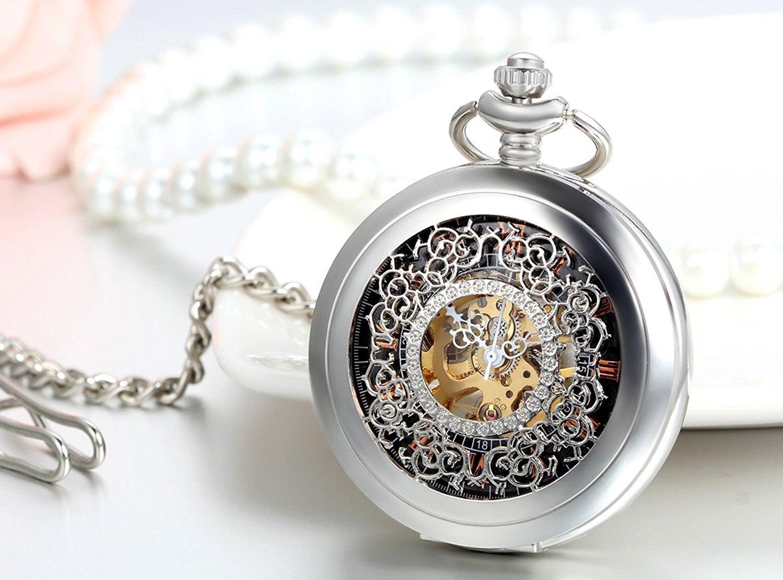 20pcs Wholesale Steakpunk Fashion Design Roman Dial Windup Mechanical Mens Women Pocket FOB Watch with Chain Free Shipping
