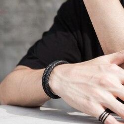 Мужской браслет из натуральной кожи Mcllroy, роскошный браслет из нержавеющей стали, кожаный магнитный браслет с тесьмой, ювелирные изделия