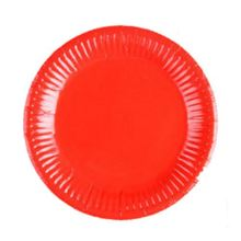 Boutique DODA 20 x 9 inch ROUND Paper PLATES (22cm) Plain Solid Colours Birthday Party Tableware(red)