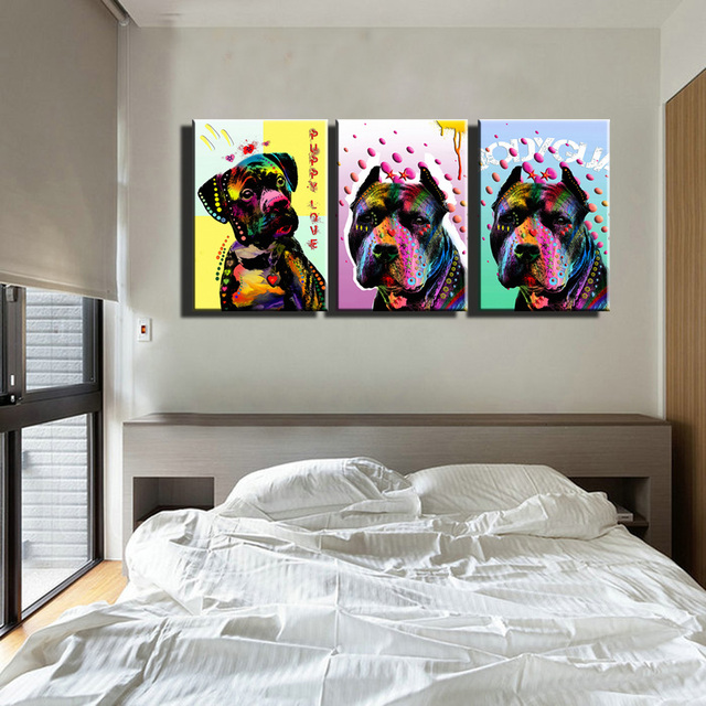 3 piece Abstract canvas wall art prints cheap modern animal dog ...