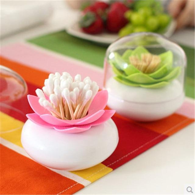2pcs Creative Toothpick Holders With Cap Lotus Flower Vase Cotton